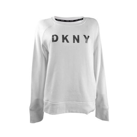 DKNY Women's Sport Sparkle-Logo Sweatshirt (M, White)