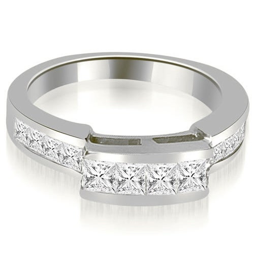 0.95 cttw. 14K White Gold Channel Diamond Princess and Round Cut Wedding Band