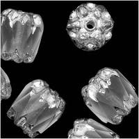 Czech Cathedral Glass Beads 8mm Matte Crystal/Silver Ends (10)