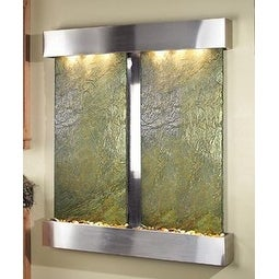 Adagio Cottonwood Falls Wall Fountain Green Solid Slate Stainless Steel - CFS200