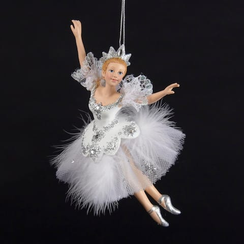 """6.5"""" Majestic Snow Queen Ballerina with White and Silver Costume Christmas Ornament"""