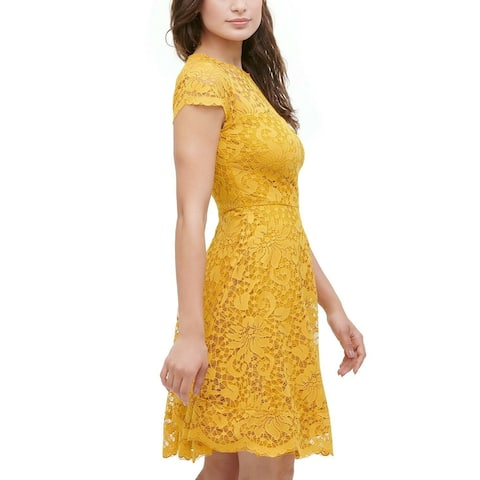 Kensie Women's Floral-Lace Fit & Flare Dress Yellow Size 0""