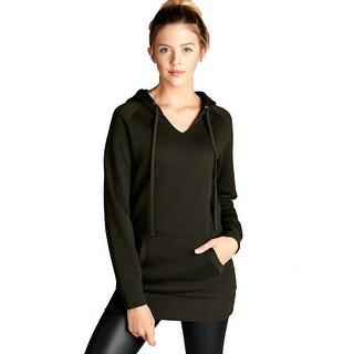 Womens Raglan V Neck Long Sleeve Pullover Basic Hoodie Sweater