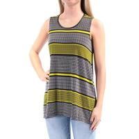 ALFANI Womens Yellow Striped Sleeveless Scoop Neck Top  Size: L
