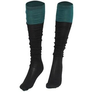 Unique Bargains Ladies Green Colour Block Fleece Knee High Socks Stockings