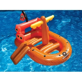 """62"""" Galleon Raider Inflatable Swimming Pool Pirate Ship Floating Boat Toy"""
