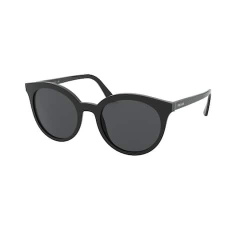 Prada PR 02XS 1AB5S0 53 Black Woman Round Sunglasses