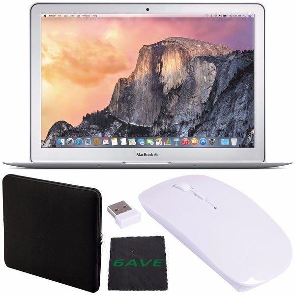 "Apple 13.3"" MacBook Air Laptop Computer 256GB #MMGG2LL/A + Padded Case For Macbook + Fibercloth + Optical Wireless Mouse Bundle"