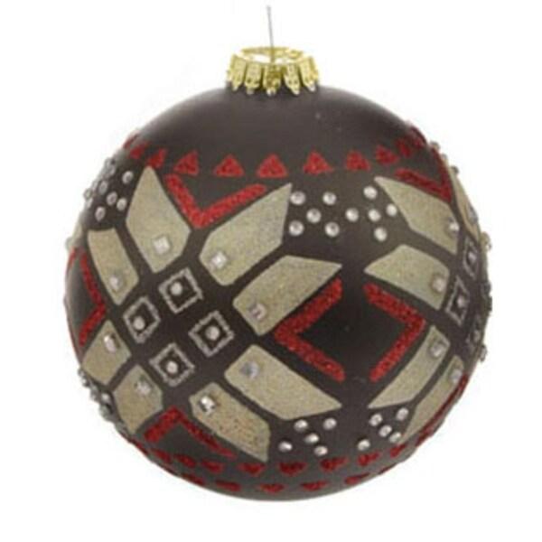 "Black Matte Jeweled Glittery Aztec Glass Ball Christmas Ornament 4"" (100mm)"