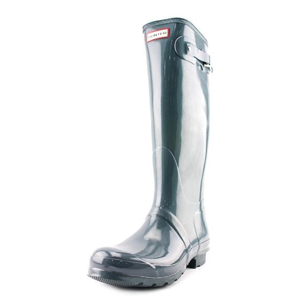 Hunter Orginal Tall Glossy Women Round Toe Synthetic Gray Rain Boot