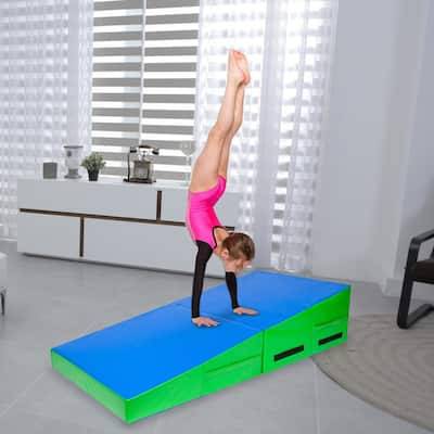 "48""x24""x14"" Trapezoid Gymnastics Mat Blue & Green"
