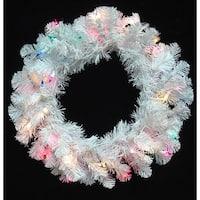 "20"" Pre-Lit Crystal White Artificial Christmas Wreath - Multi Dura Lights"