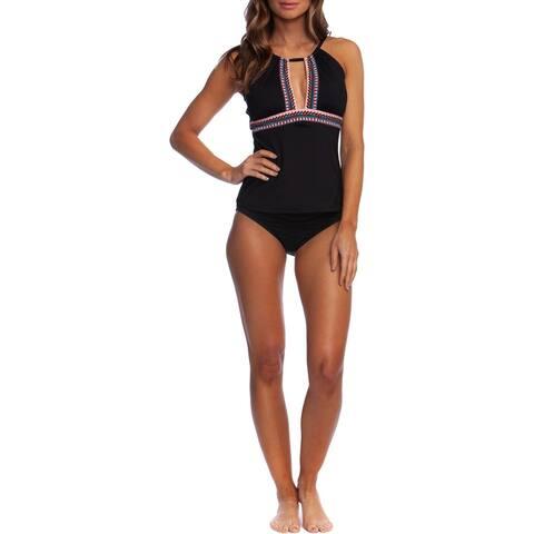 Kenneth Cole New York Womens Printed Tankini Swim Top Separates - Black