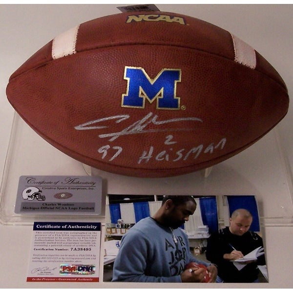 quality design 44cde de0a3 Charles Woodson Autographed Hand Signed Official Michigan NCAA Game Model  Football - PSA/DNA