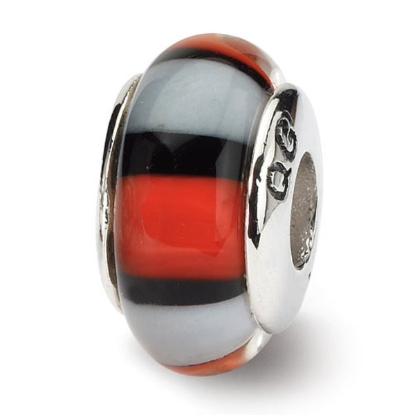 Sterling Silver Reflections Red/White Hand-blown Glass Bead (4mm Diameter Hole)