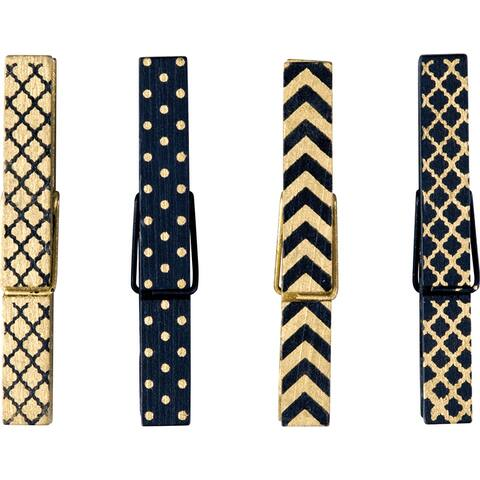 Black & Gold Magnetic Clothespins
