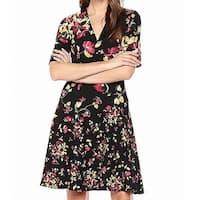 London Times Black Women's Size 4 Floral V-Neck A-Line Dress