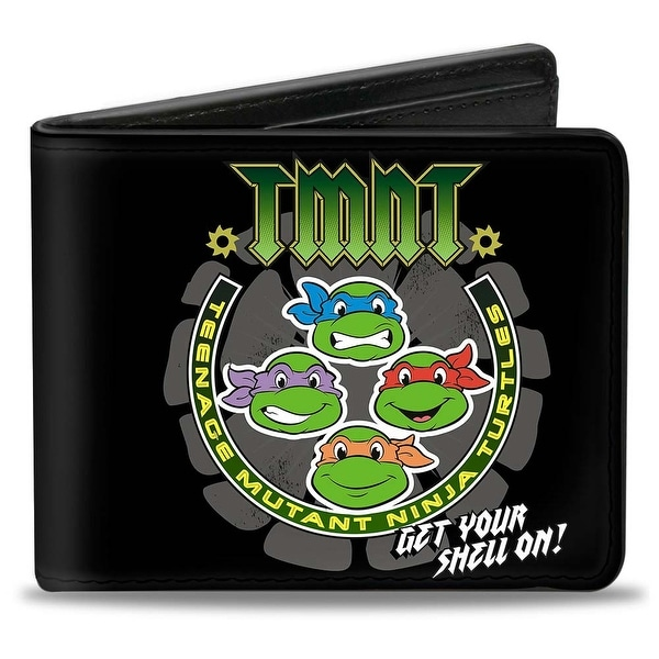 Classic Tmnt Get Your Shell On + Tmnt World Tour 84 Black Gray Green Bi Bi-Fold Wallet - One Size Fits most