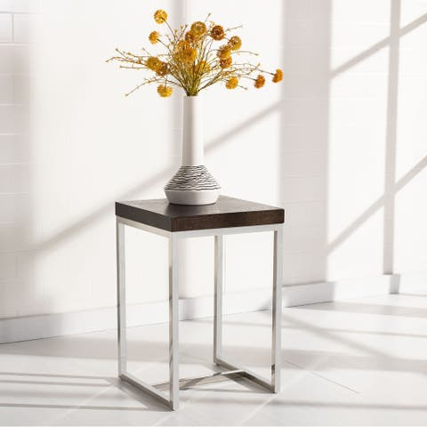 """SAFAVIEH Couture High Line Collection Turner Stainless Steel Square End Table - 15.7"""" W x 15.7"""" L x 23.6"""" H"""
