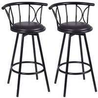 Costway Set of 2 Black Barstools Modern Swivel Rotatable Chairs Steel Counter Height