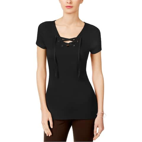 I-N-C Womens Lace Up Basic T-Shirt
