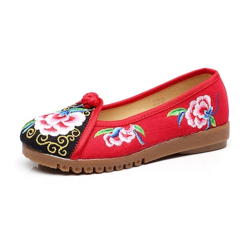 Women's Chinese Ethnic Embroidery Flat Ballet Marry Janes Cheongsam Dancing Shoes Fish Mouth Han Embroidery