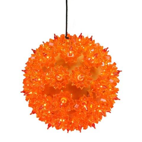 "Amber Orange Lighted Hanging Starlight Sphere Outdoor Christmas Decoration 6"""