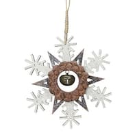 "6"" Brown Wooden Snowflake Christmas Ornament with a Country Rustic Bell"