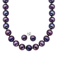 Black Freshwater Pearl Necklace and Earring Set in Sterling Silver