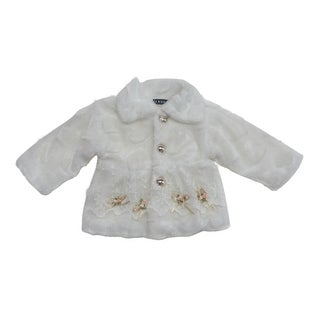 Little Girls White Flower Lace Decorated Faux Fur Long Sleeved Jacket (3 options available)