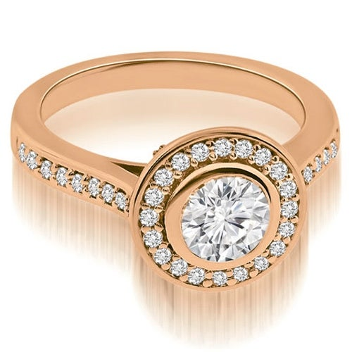 1.50 cttw. 14K Rose Gold Cathedral Halo Bezel Round Diamond Engagement Ring