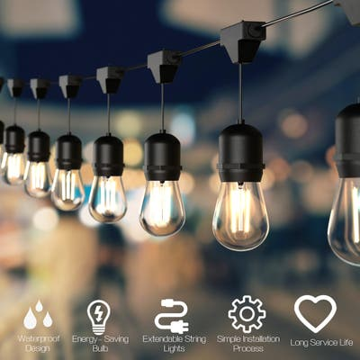 Outdoor LED String Lights Commercial Grade Weatherproof Patio Lights - Black