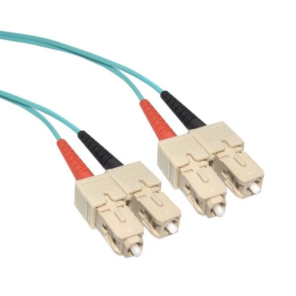 Offex 10 Gigabit Aqua Fiber Optic Cable, SC / SC, Multimode, Duplex, 50/125, 2 meter (6.6 foot)