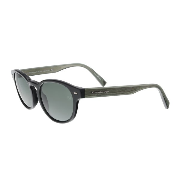 7925092918 Shop Ermenegildo Zegna EZ0029 S 01N Black Green Square Sunglasses ...