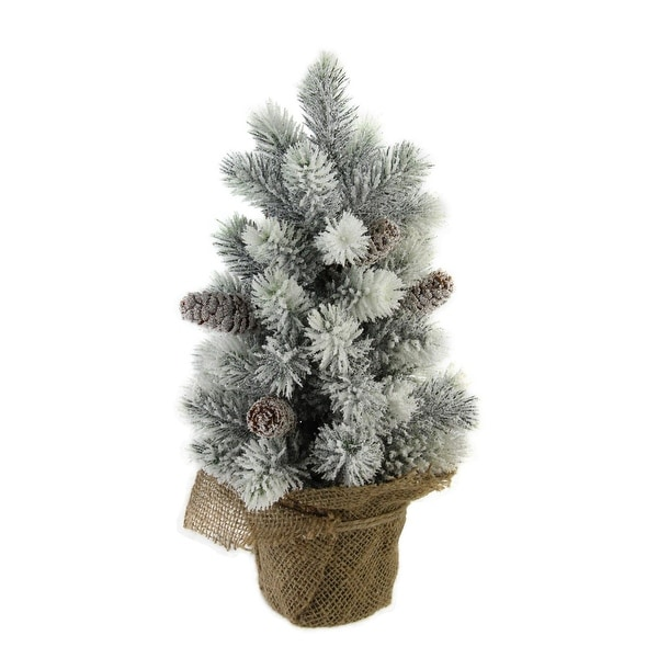 """15.5"""" Snow Flocked Green Pine Artificial Table Top Christmas Tree with Burlap Base - WHITE"""