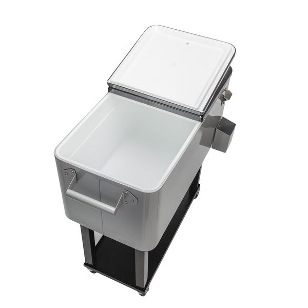 80QT Outdoor Iron Spray Cooler with Shelf. Opens flyout.