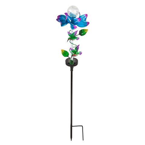 "32""H Solar Light Movement Cracked Glass Globe Spinning Floral Garden Stake, Blue"