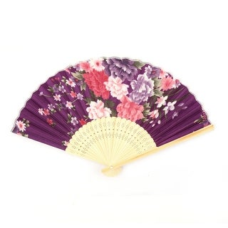 Lady Dancing Party Bamboo Frame Peony Pattern Handheld Folding Fan Colorful