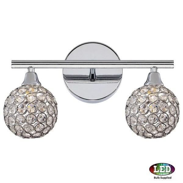 "Platinum PCSR8602LED Shimmer 2 Light 14"" Wide Bathroom Vanity Light with Crystal Globe Shades - Polished chrome"