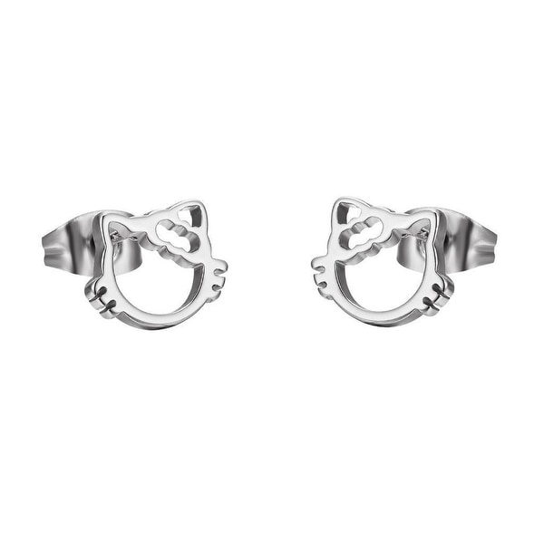 Kitty Earrings Womens Girls Silver Tone Stainless Steel Cat Studs Unique 8mm