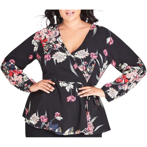 City Chic Womens Blouse Ink Black Size 24W Plus Wrap Floral-Printed