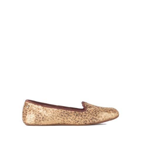 UGG Womens Gold Leopard Leather Alloway Metallic Loafers Size US7~RTL$140