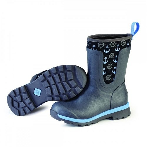 Muck Boots Gray/Blue Anchors Women's Cambridge Mid Boot - Size 8