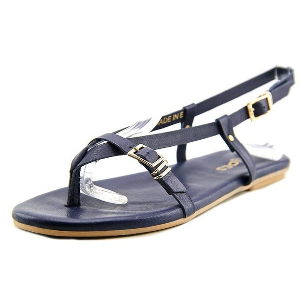 J/Slides Capri Women Open Toe Leather Blue Thong Sandal