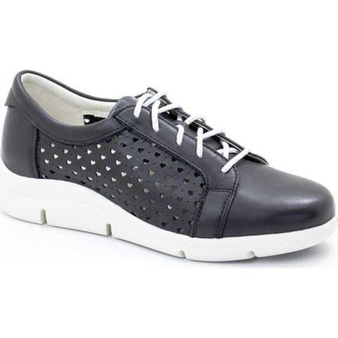 Dromedaris Women's Vivian Lace Up Sneaker Black Leather