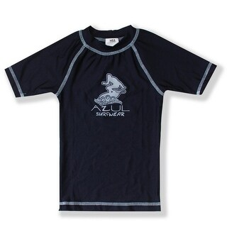 Azul Baby Boys Navy Blue Short Sleeve Solid UPF 50+ Trendy Rash Guard
