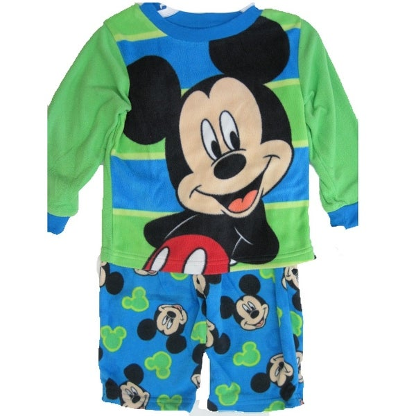 9dad1a4bc Shop Disney Little Boys Green Blue Mickey Mouse Printed 2 Pc Pajama ...