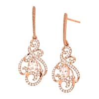 3/4 ct Natural Morganite & 1/3 ct Diamond Swirl Drop Earrings in 10K Rose Gold - Pink
