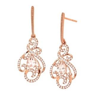 3/4 ct Natural Morganite & 1/3 ct Diamond Swirl Drop Earrings in 10K Rose Gold