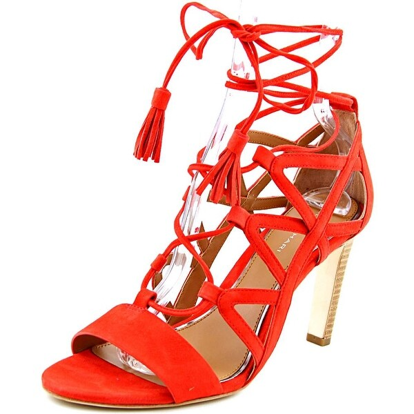 Elie Tahari Hurricane Women Open Toe Suede Red Sandals